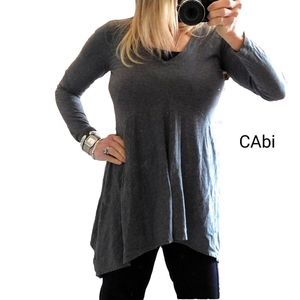 CABI CHARCOAL ASYM STRETCH LNG SLV TUNIC